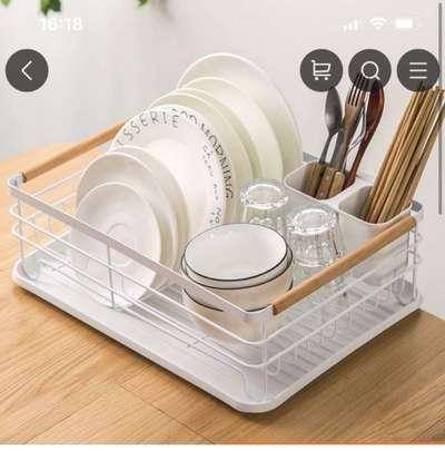 日式铁艺餐具收纳碗碟架多功能厨房置物架大容量沥水碗架