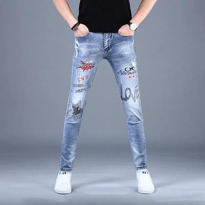 夏季高端破洞浅蓝色牛仔裤男弹力薄款韩版潮流印花修身小脚裤子男
