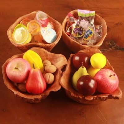 欧式复古客厅水果盘 木制创意礼物家居摆件零食盘 实木菜盘花盆