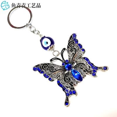 土耳其蓝眼睛钥匙扣  蝴蝶合金挂件 男女包包通用饰品 价格面议