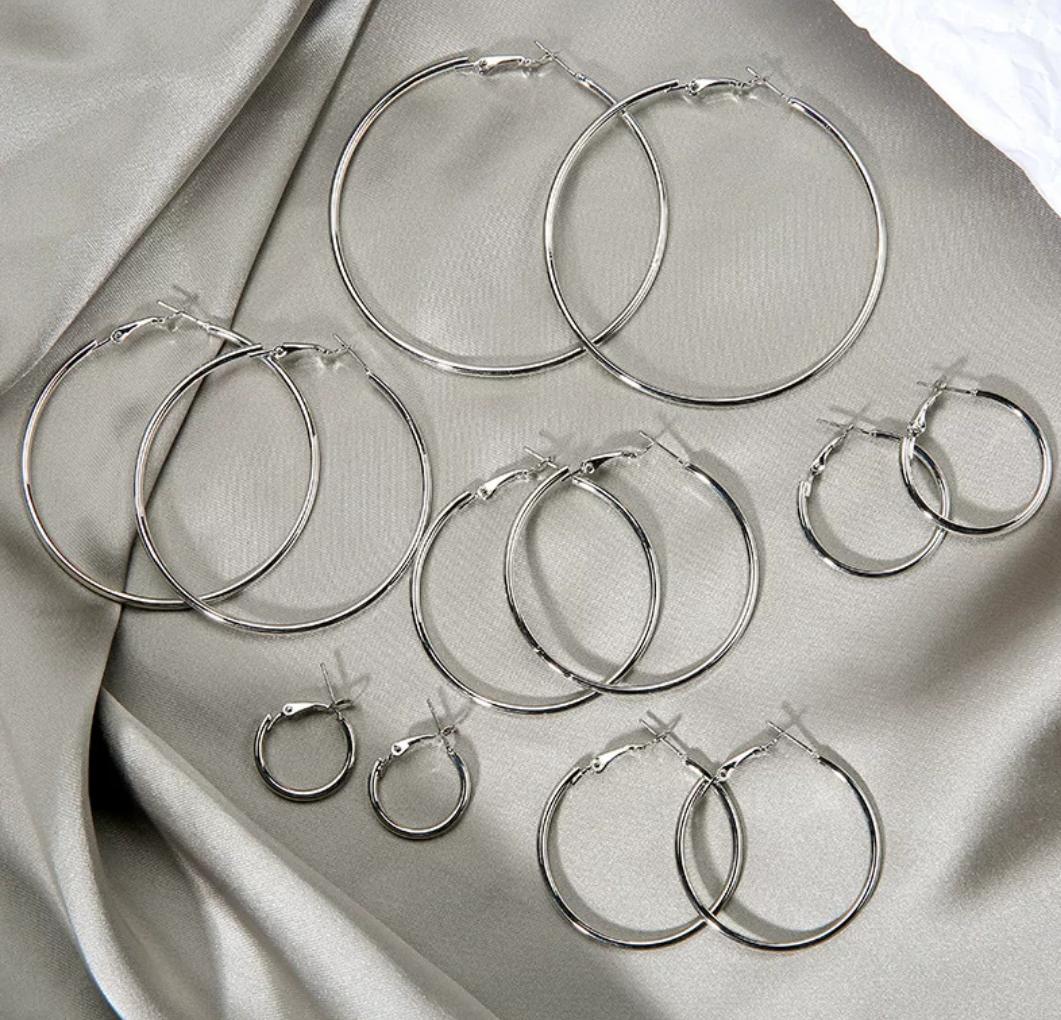俊芳饰品 光圈大耳环 尺寸5厘米 白K色